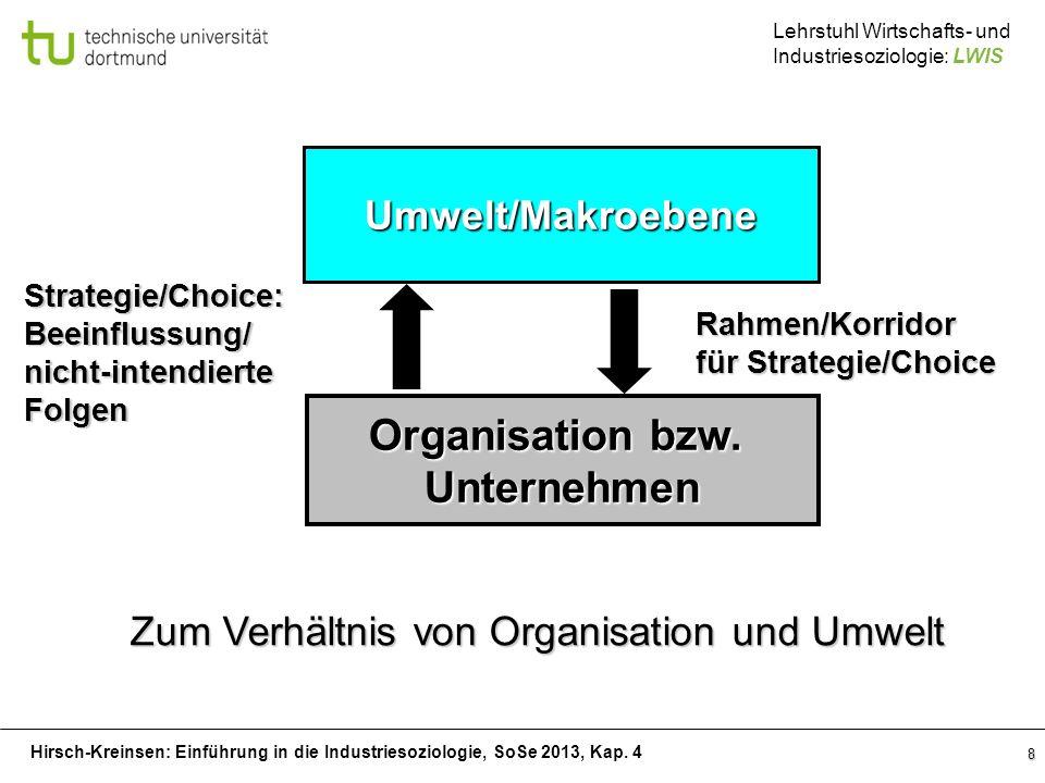 Zum Verhältnis von Organisation und Umwelt
