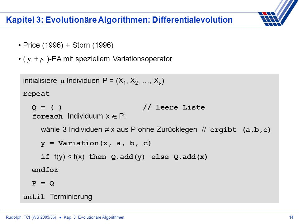 Kapitel 3: Evolutionäre Algorithmen: Differentialevolution
