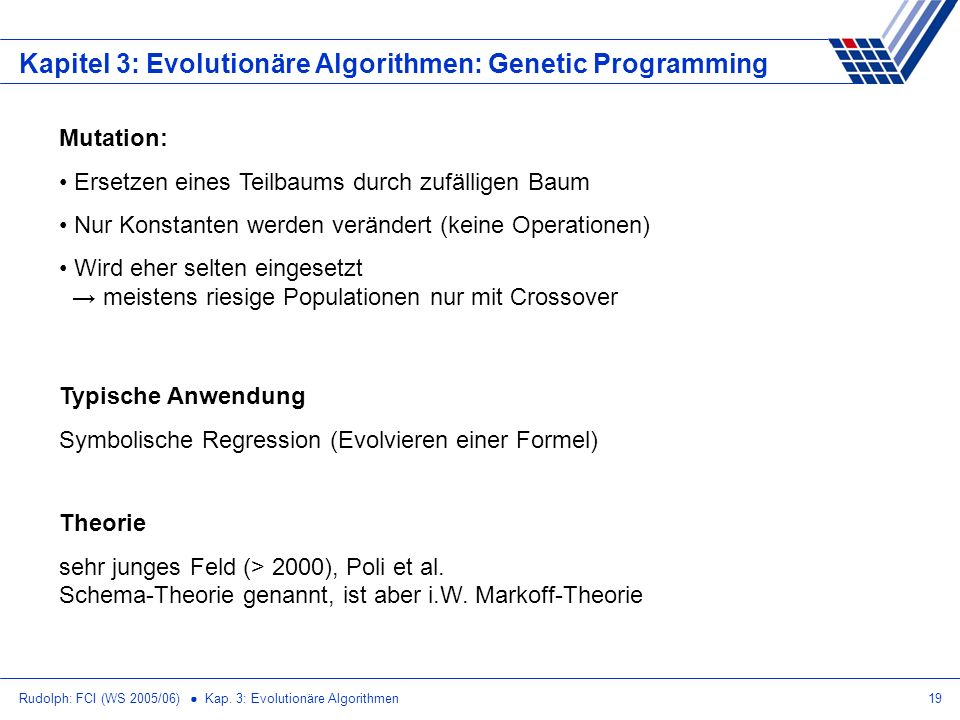 Kapitel 3: Evolutionäre Algorithmen: Genetic Programming