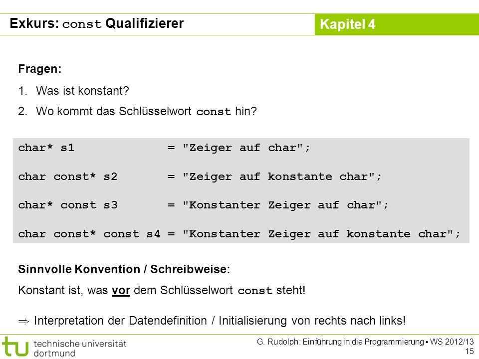 Exkurs: const Qualifizierer