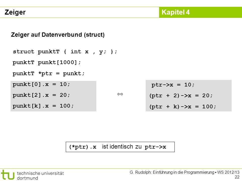 Zeiger Zeiger auf Datenverbund (struct) struct punktT { int x , y; };