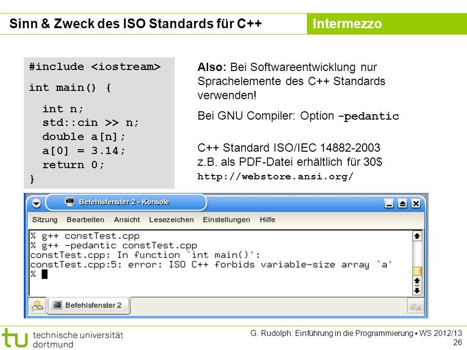 Sinn & Zweck des ISO Standards für C++ Intermezzo