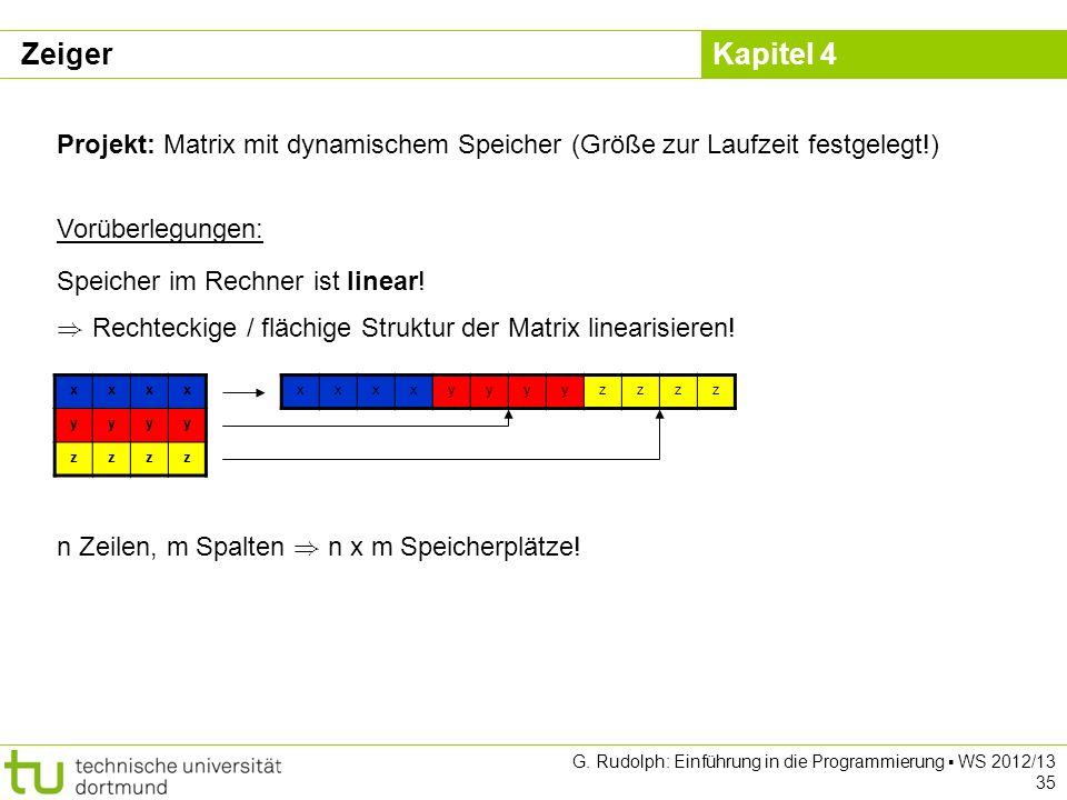 Zeiger Projekt: Matrix mit dynamischem Speicher (Größe zur Laufzeit festgelegt!) Vorüberlegungen: Speicher im Rechner ist linear!