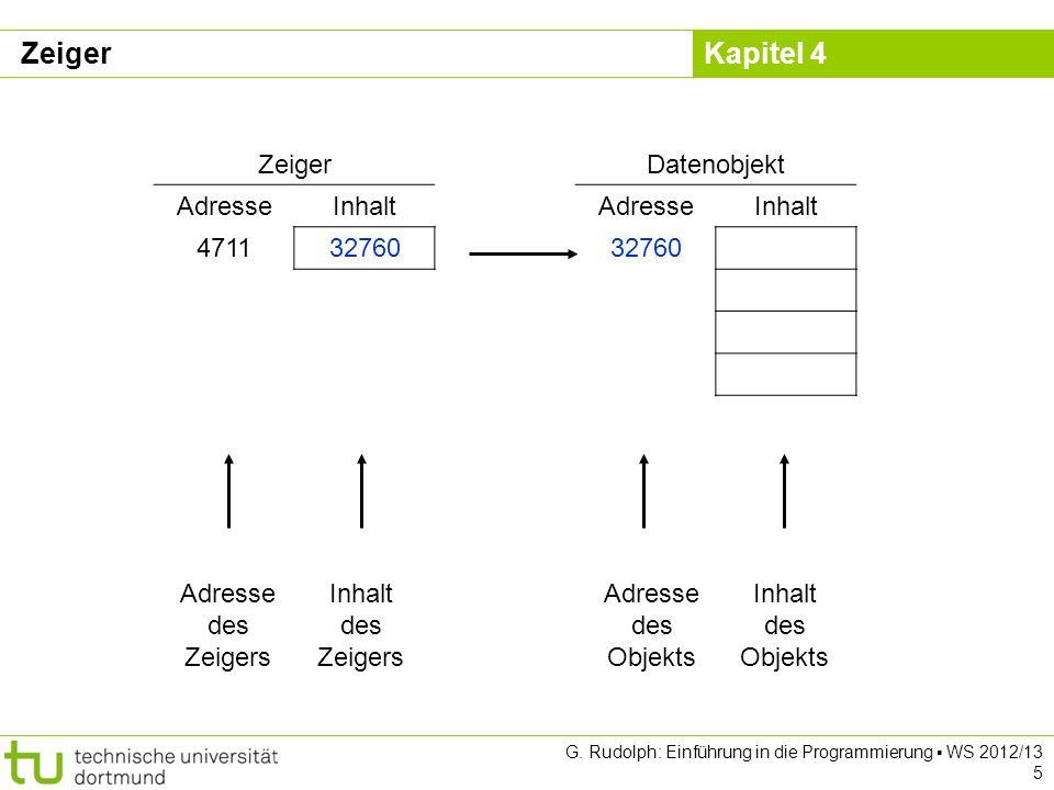 Zeiger Zeiger Datenobjekt Adresse Inhalt 4711 32760