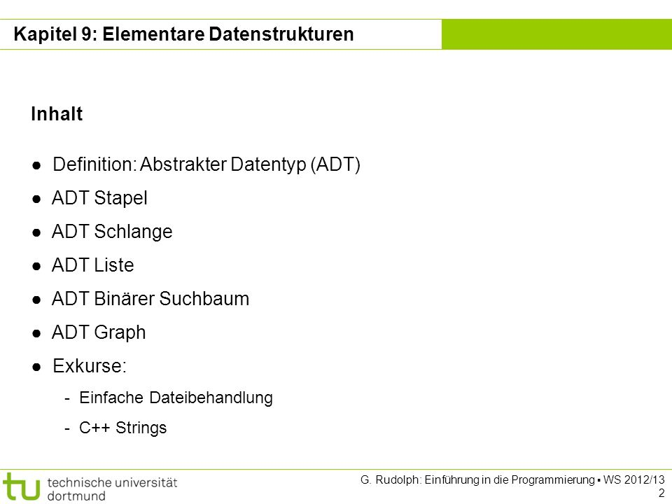 Kapitel 9: Elementare Datenstrukturen