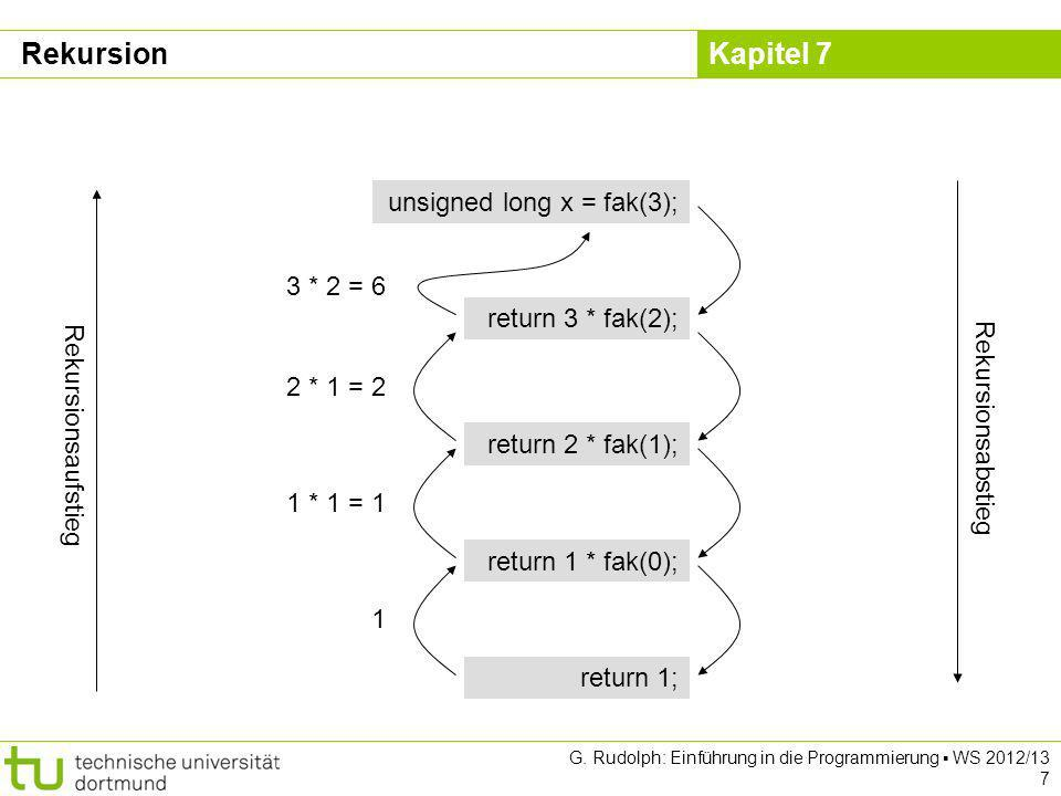 Rekursion unsigned long x = fak(3); 3 * 2 = 6 return 3 * fak(2);