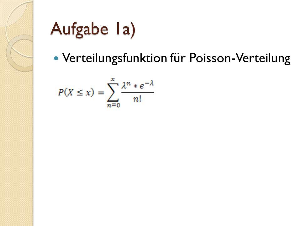 Aufgabe 1a) Verteilungsfunktion für Poisson-Verteilung