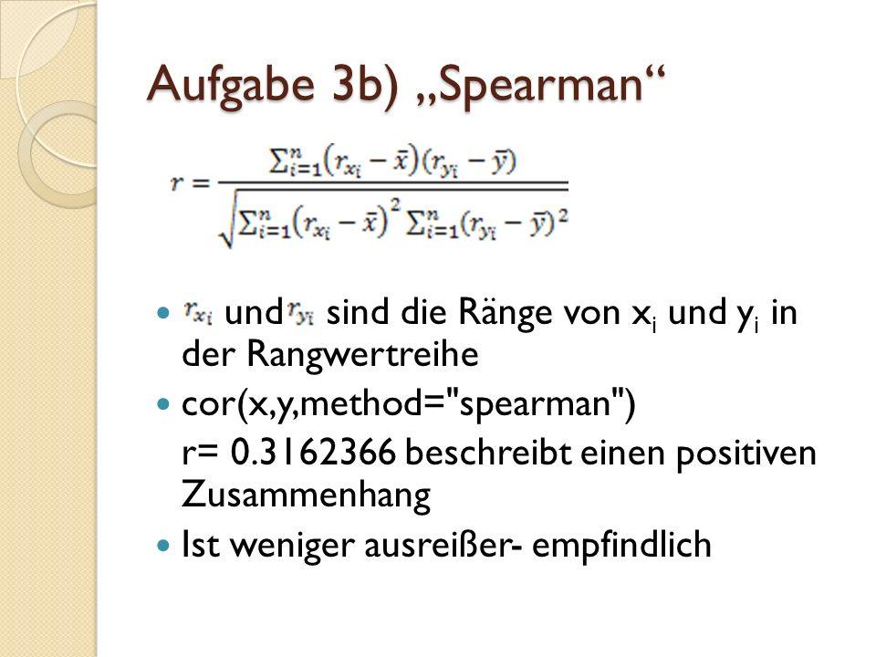 """Aufgabe 3b) """"Spearman und sind die Ränge von xi und yi in der Rangwertreihe. cor(x,y,method= spearman )"""
