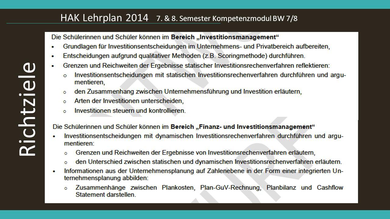 HAK Lehrplan 2014 7. & 8. Semester Kompetenzmodul BW 7/8 Richtziele