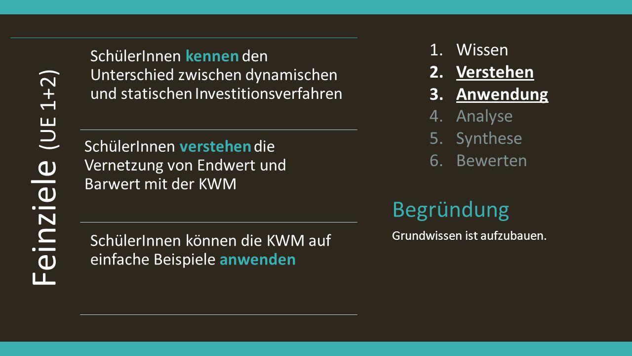 Feinziele (UE 1+2) Begründung Wissen Verstehen Anwendung Analyse