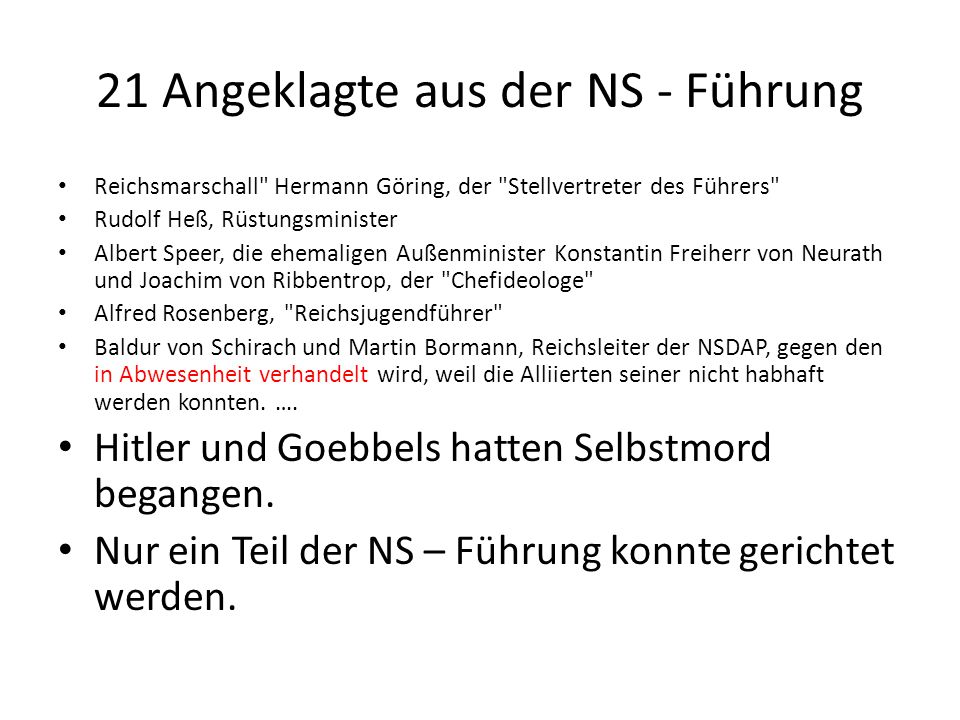 21 Angeklagte aus der NS - Führung