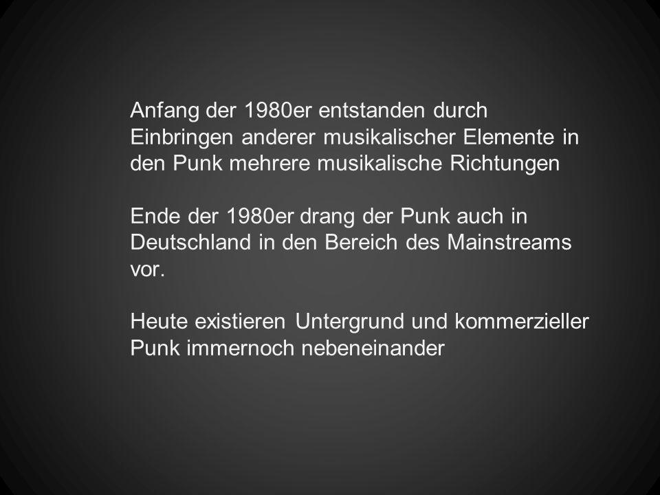 Anfang der 1980er entstanden durch Einbringen anderer musikalischer Elemente in den Punk mehrere musikalische Richtungen