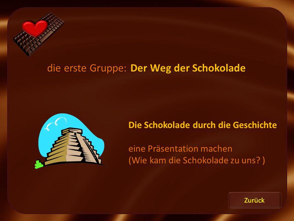 die erste Gruppe: Der Weg der Schokolade