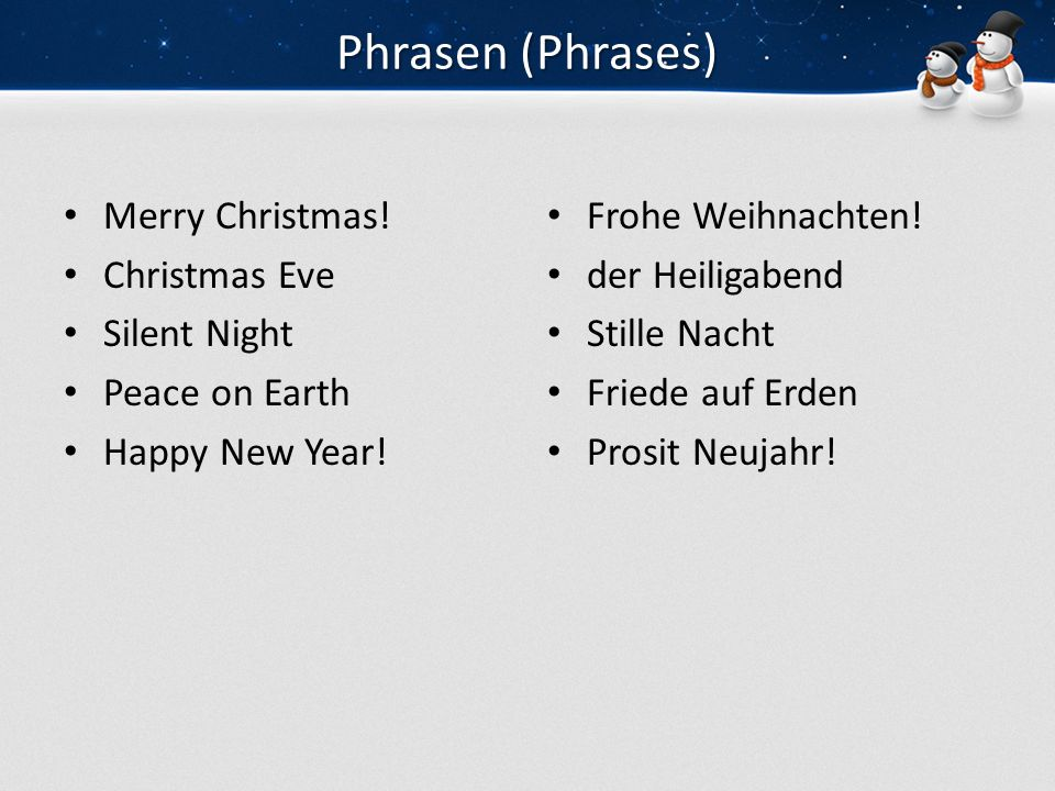 Phrasen (Phrases) Merry Christmas! Christmas Eve Silent Night