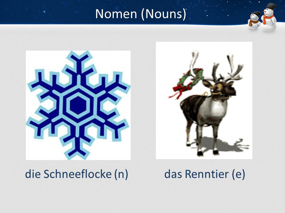 Nomen (Nouns) die Schneeflocke (n) das Renntier (e)
