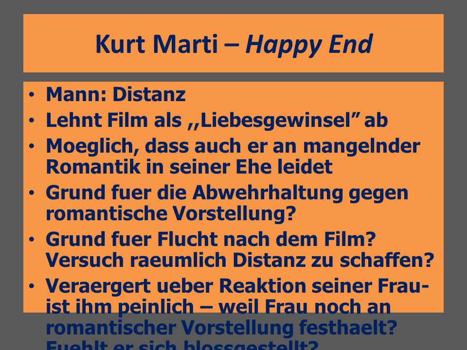 Kurt Marti – Happy End Mann: Distanz
