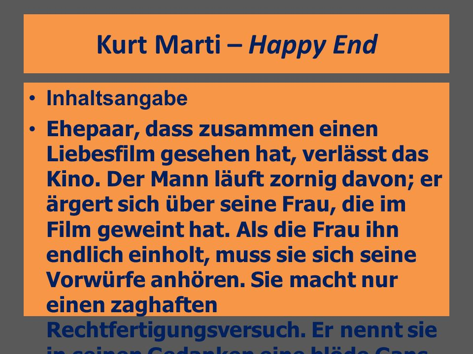 Kurt Marti – Happy End Inhaltsangabe