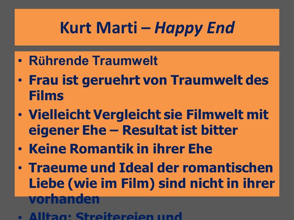 Kurt Marti – Happy End Rührende Traumwelt