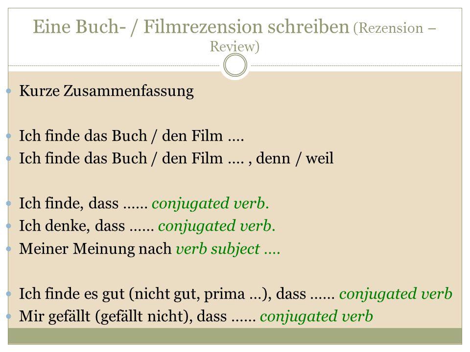 Eine Buch- / Filmrezension schreiben (Rezension – Review)