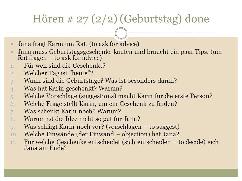 Hören # 27 (2/2) (Geburtstag) done