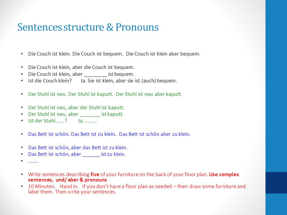Sentences structure & Pronouns