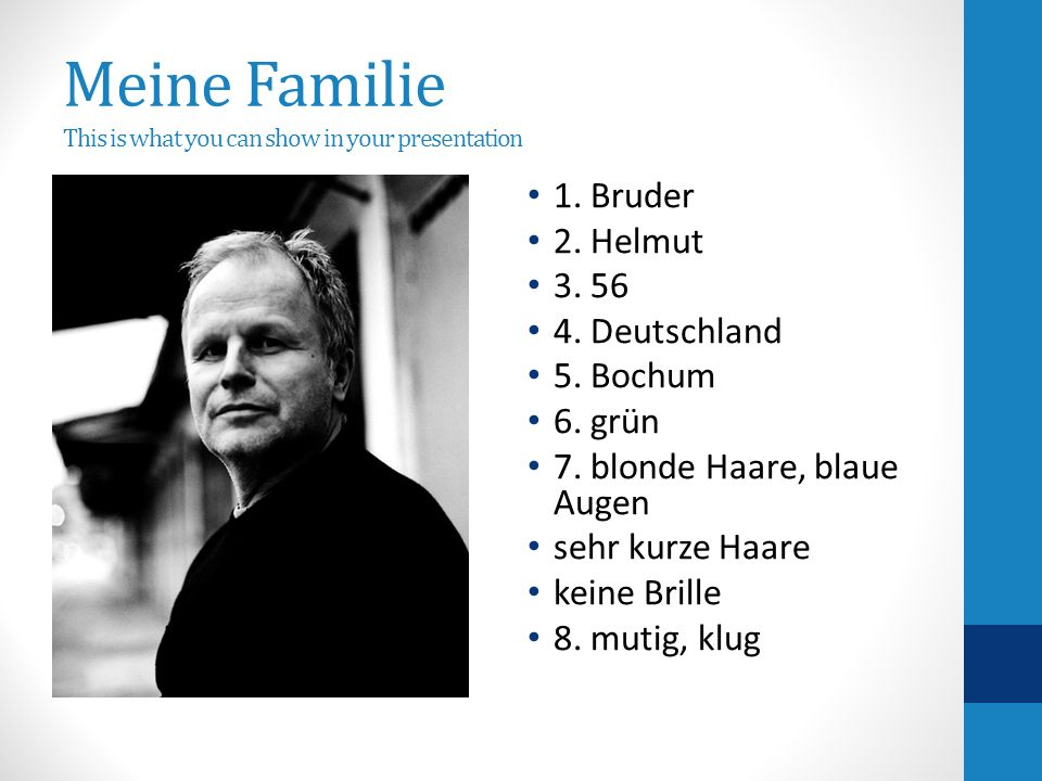 Meine Familie This is what you can show in your presentation