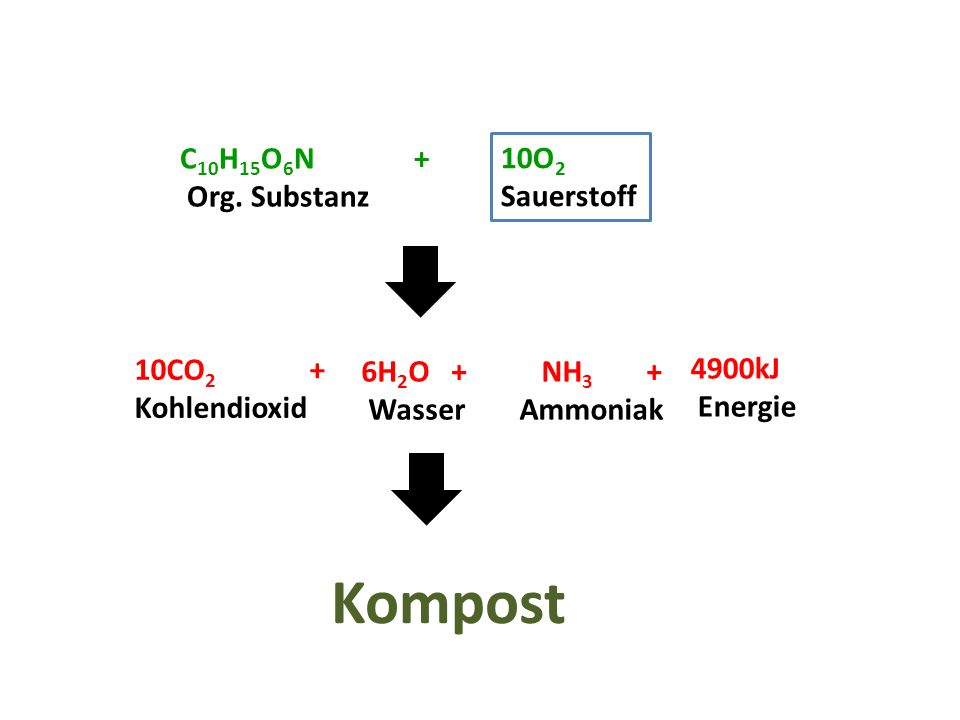Kompost C10H15O6N + Org. Substanz 10O2 Sauerstoff 10CO2 + Kohlendioxid