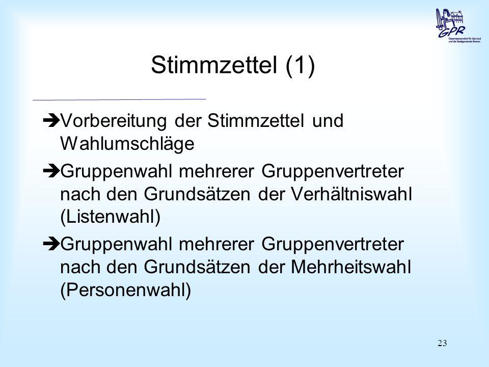 Stimmzettel (2) Gemeinsame Wahl mehrerer Personalratsmitglieder nach den Grundsätzen der Verhältniswahl (Listenwahl)