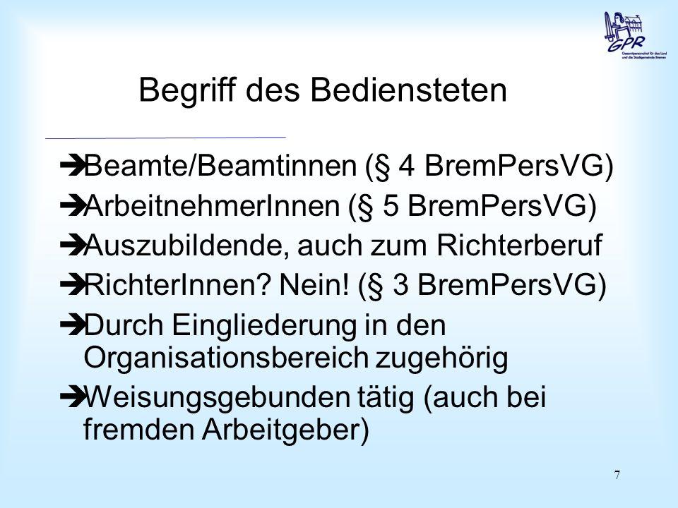 Gruppeneinteilung BremPersVG kennt zwei Gruppen: Beamte und Arbeitnehmer (§ 3 Abs. 2 BremPersVG)