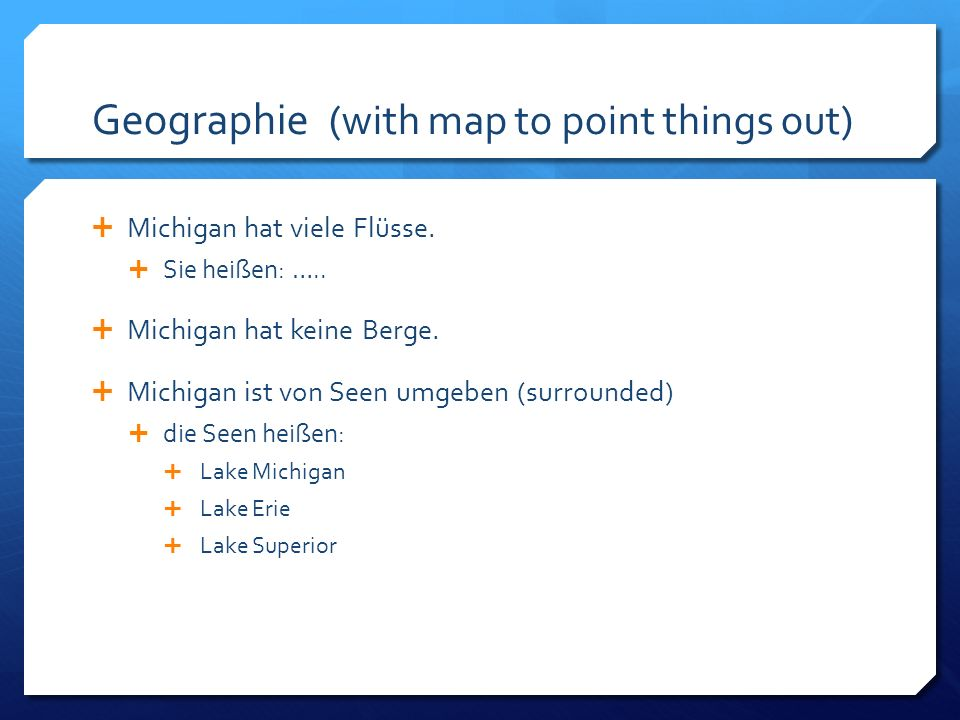 Geographie (with map to point things out)