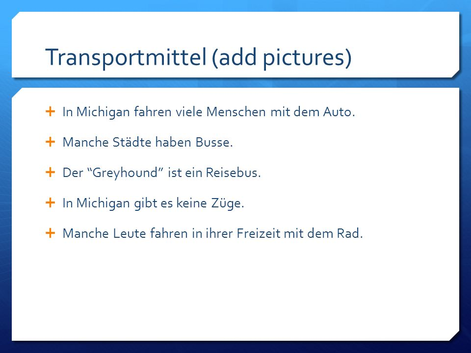 Transportmittel (add pictures)