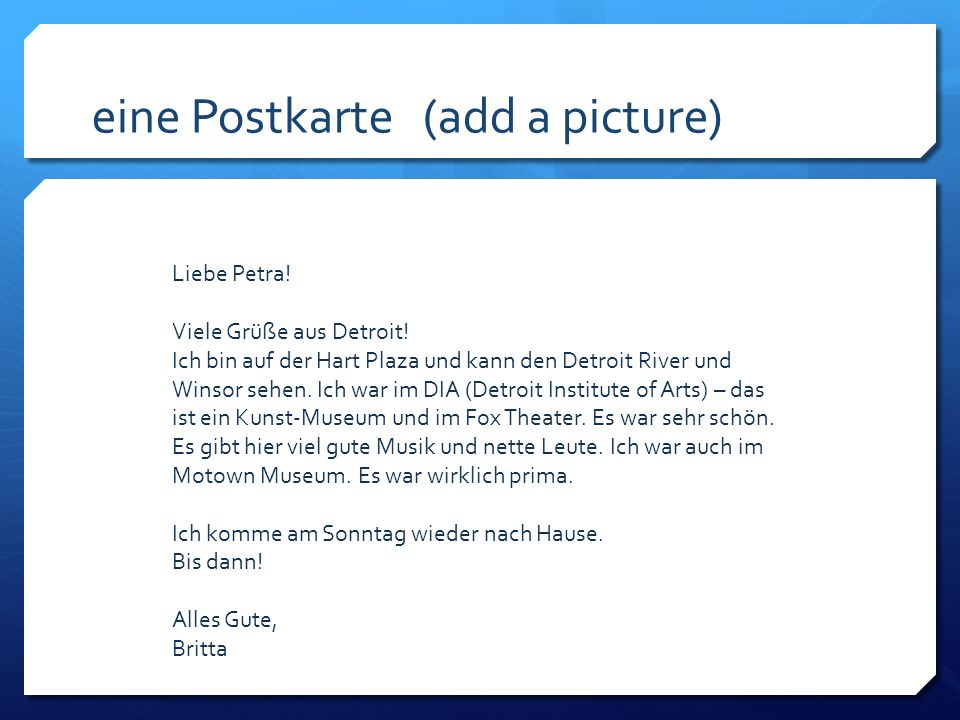 eine Postkarte (add a picture)