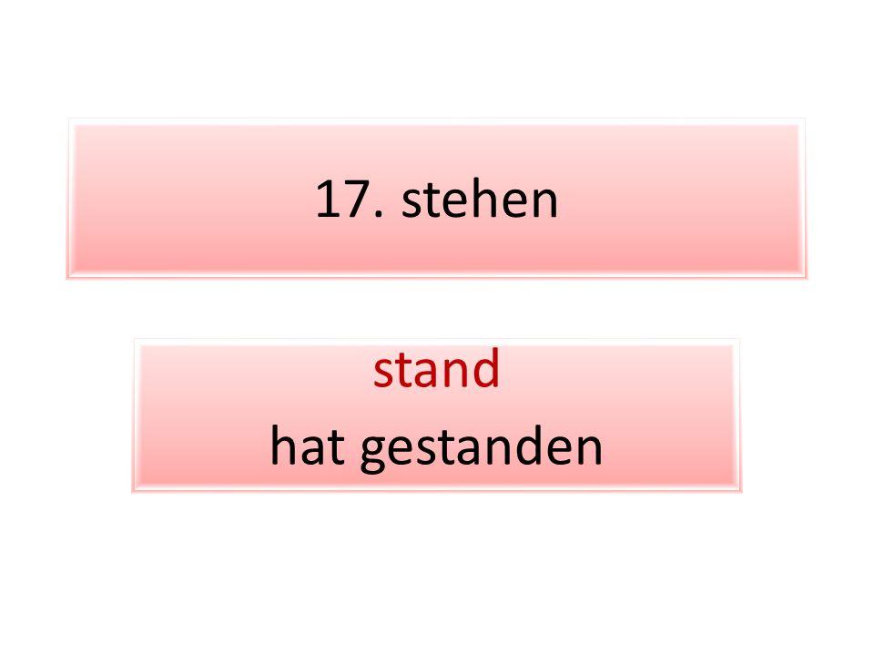 17. stehen stand hat gestanden