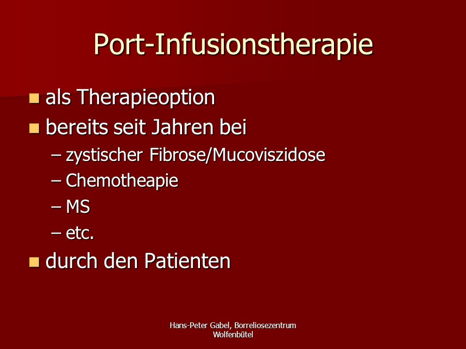 Port-Infusionstherapie