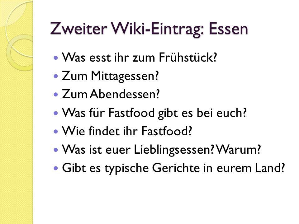 Zweiter Wiki-Eintrag: Essen