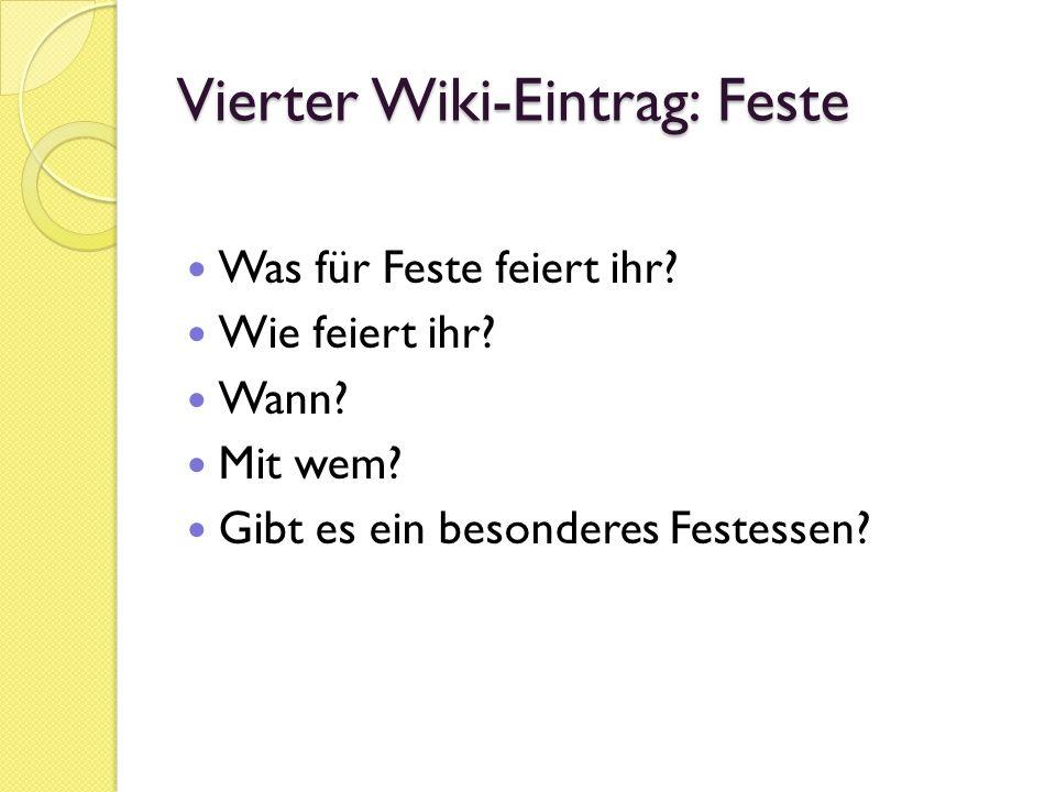 Vierter Wiki-Eintrag: Feste