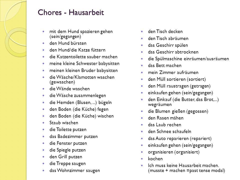 Deutsch 2 C & D Stunde  ppt herunterladen ~ Geschirr Plural