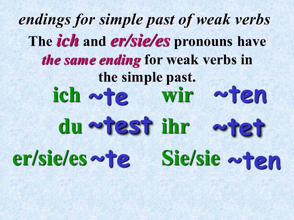 The ich and er/sie/es pronouns have the same ending for weak verbs in
