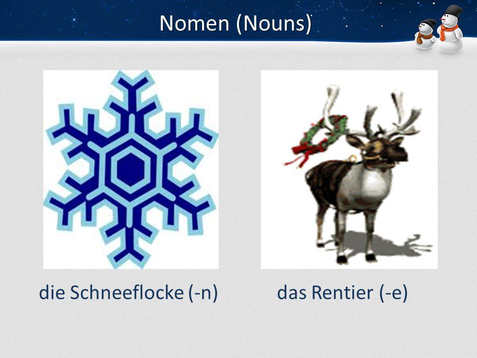 Nomen (Nouns) die Schneeflocke (-n) das Rentier (-e)