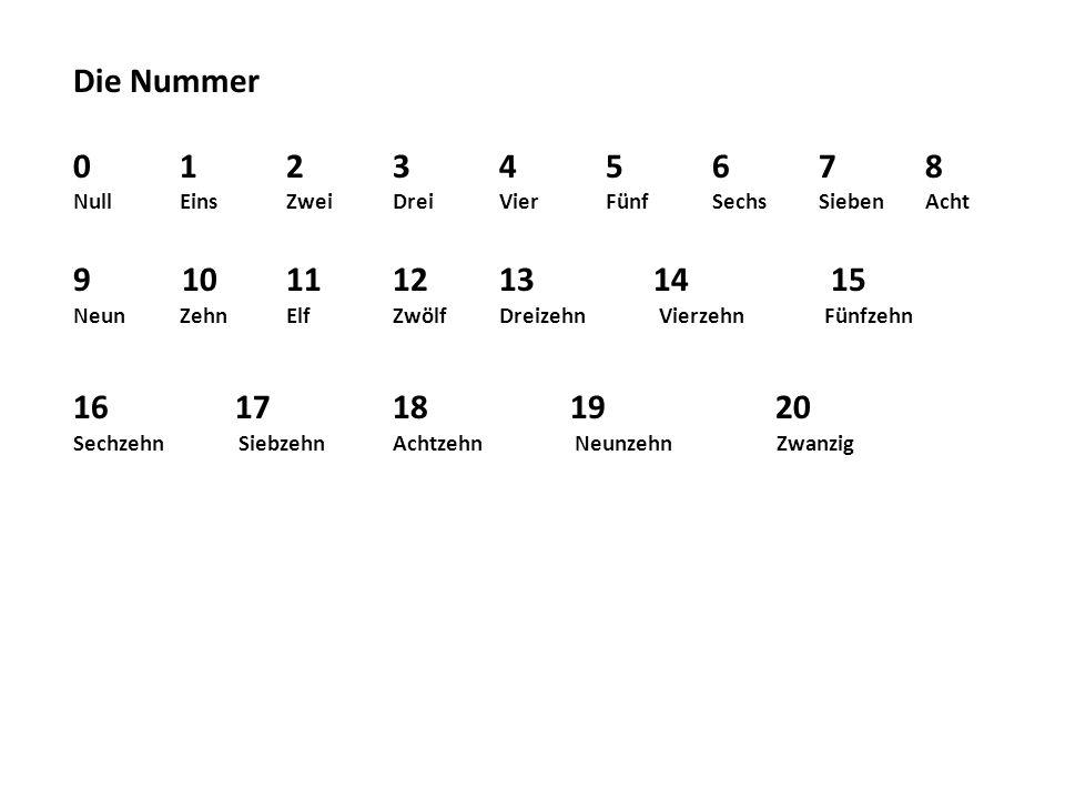 Die Nummer 0 1 2 3 4 5 6 7 8. Null Eins Zwei Drei Vier Fünf Sechs Sieben Acht. 10 11 12 13 14 15.