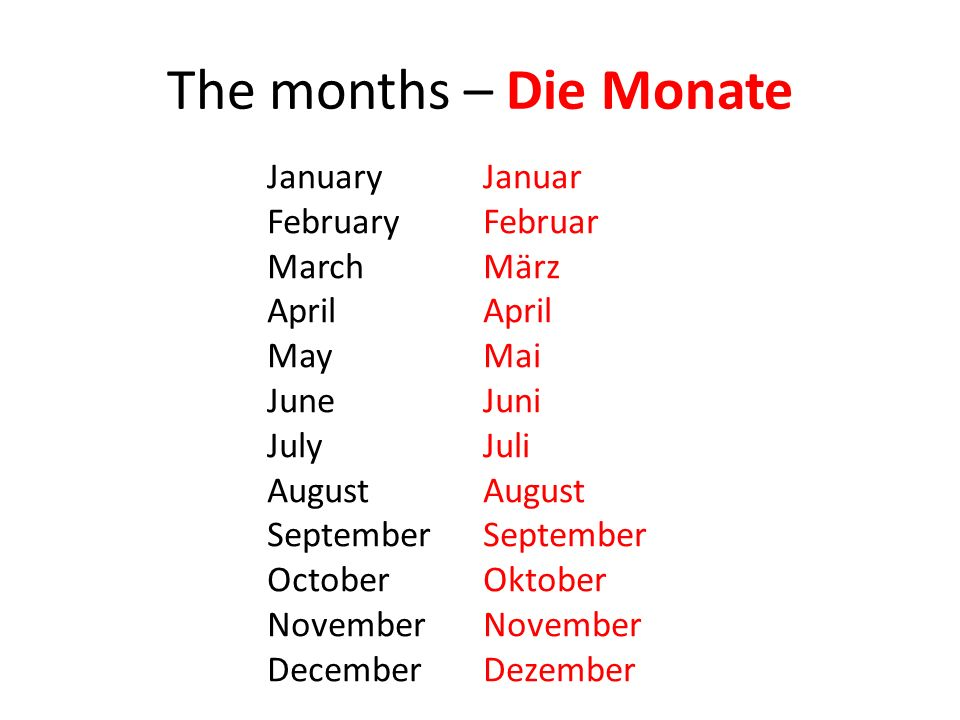 The months – Die Monate January Januar February Februar March März
