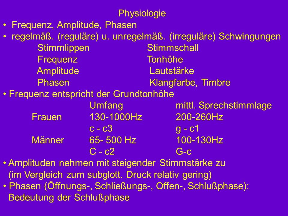 Physiologie Frequenz, Amplitude, Phasen. regelmäß. (reguläre) u. unregelmäß. (irreguläre) Schwingungen.