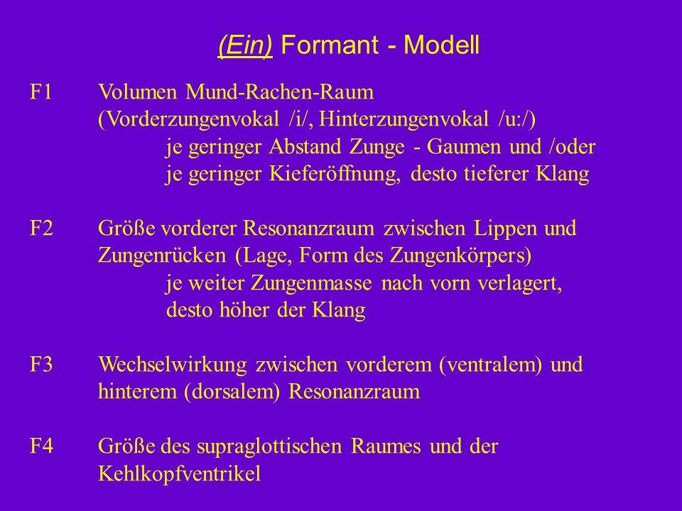 (Ein) Formant - Modell F1 Volumen Mund-Rachen-Raum