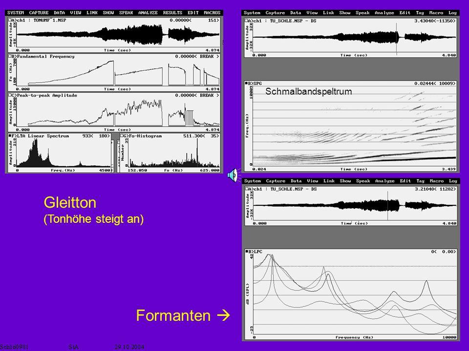Schmalbandspeltrum Gleitton (Tonhöhe steigt an) Formanten 