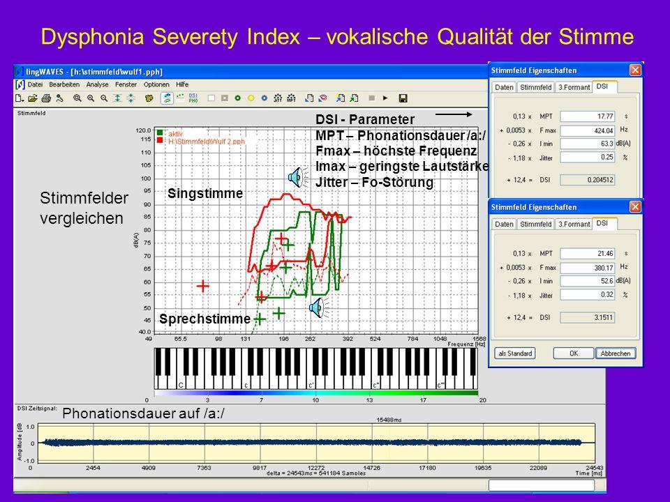 Dysphonia Severety Index – vokalische Qualität der Stimme