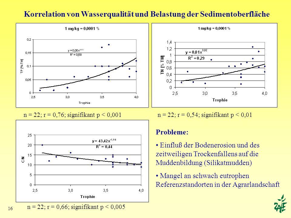 Korrelation von Wasserqualität und Belastung der Sedimentoberfläche