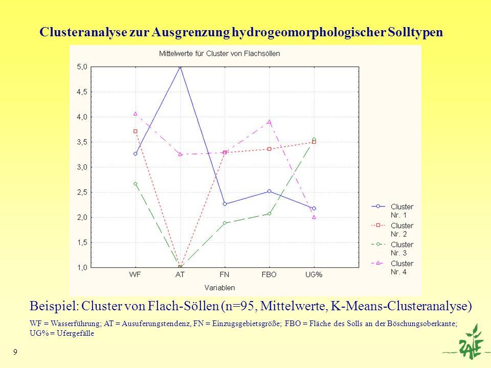 Clusteranalyse zur Ausgrenzung hydrogeomorphologischer Solltypen