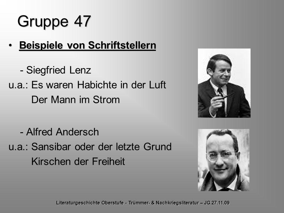 Gruppe 47 Beispiele von Schriftstellern - Siegfried Lenz