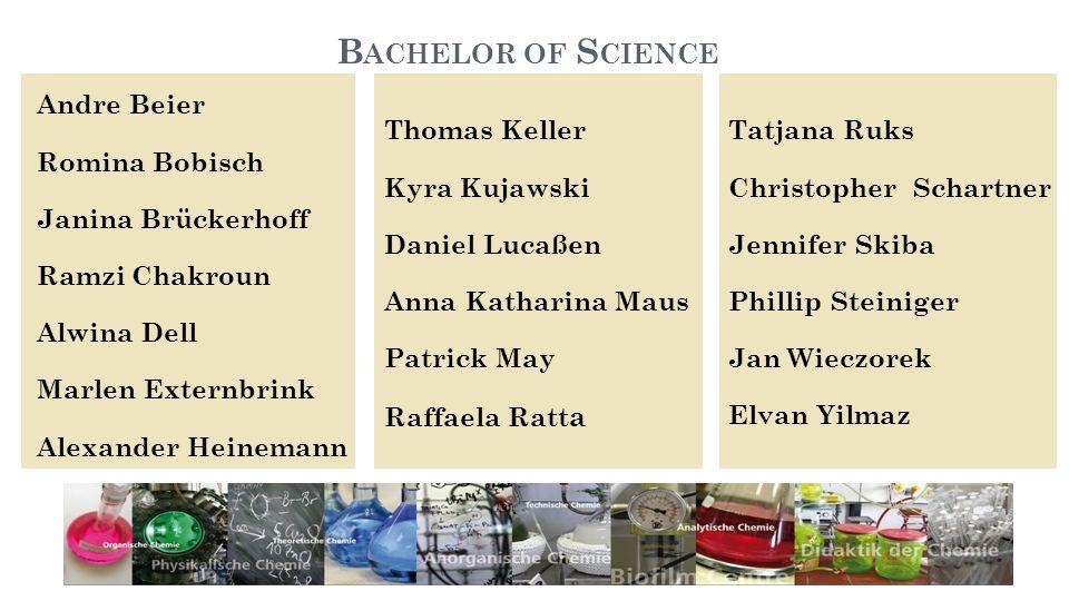 Bachelor of ScienceAndre Beier Romina Bobisch Janina Brückerhoff Ramzi Chakroun Alwina Dell Marlen Externbrink Alexander Heinemann