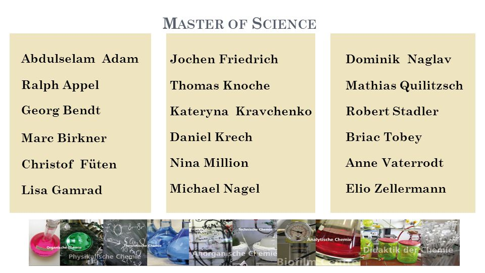 Master of Science Abdulselam Adam Ralph Appel Georg Bendt Marc Birkner Christof Füten Lisa Gamrad